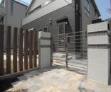 シンプルモダン外構と石貼りテラスのお庭 千葉県市川市